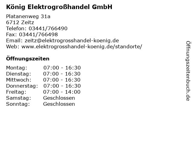 König Elektrogroßhandel GmbH in Zeitz: Adresse und Öffnungszeiten