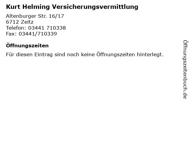 Kurt Helming Versicherungsvermittlung in Zeitz: Adresse und Öffnungszeiten