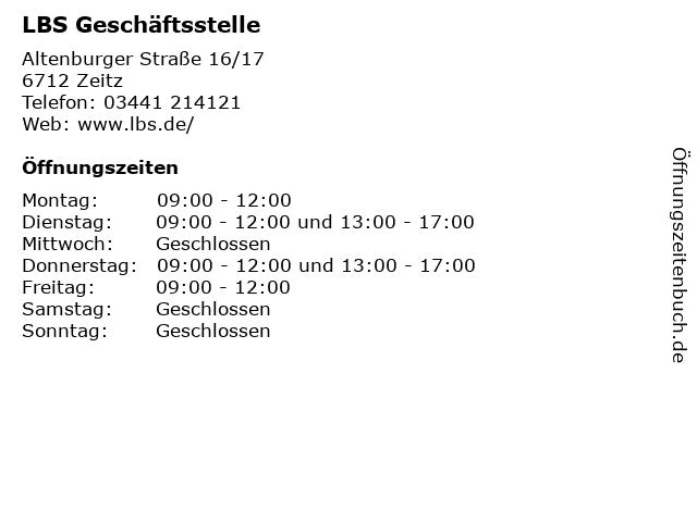 LBS Geschäftsstelle in Zeitz: Adresse und Öffnungszeiten