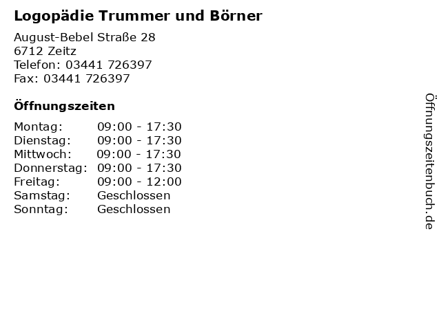 Logopädie Trummer und Börner in Zeitz: Adresse und Öffnungszeiten