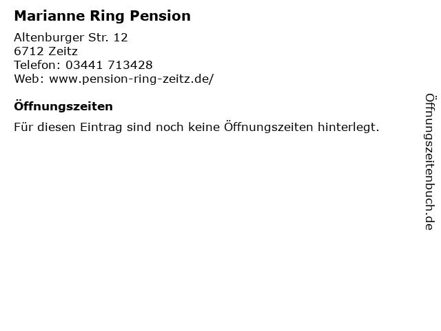 Marianne Ring Pension in Zeitz: Adresse und Öffnungszeiten
