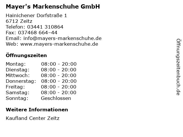 Mayer's Markenschuhe GmbH in Zeitz: Adresse und Öffnungszeiten