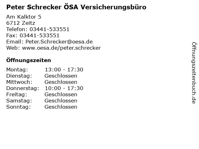 Peter Schrecker ÖSA Versicherungsbüro in Zeitz: Adresse und Öffnungszeiten