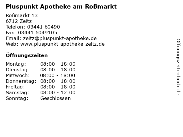 Pluspunkt Apotheke am Roßmarkt in Zeitz: Adresse und Öffnungszeiten