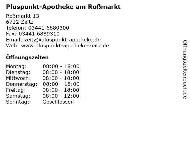 Pluspunkt-Apotheke am Roßmarkt in Zeitz: Adresse und Öffnungszeiten
