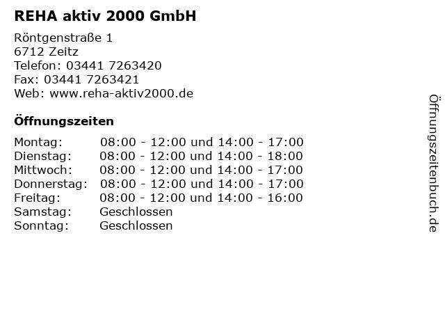 REHA aktiv 2000 GmbH in Zeitz: Adresse und Öffnungszeiten