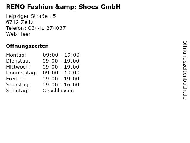 RENO Fashion & Shoes GmbH in Zeitz: Adresse und Öffnungszeiten