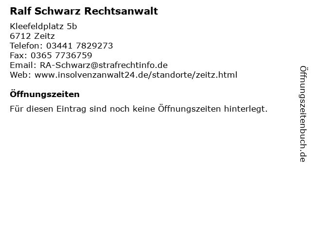 Ralf Schwarz Rechtsanwalt in Zeitz: Adresse und Öffnungszeiten