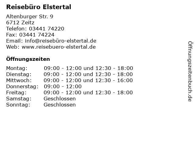 Reisebüro Elstertal in Zeitz: Adresse und Öffnungszeiten
