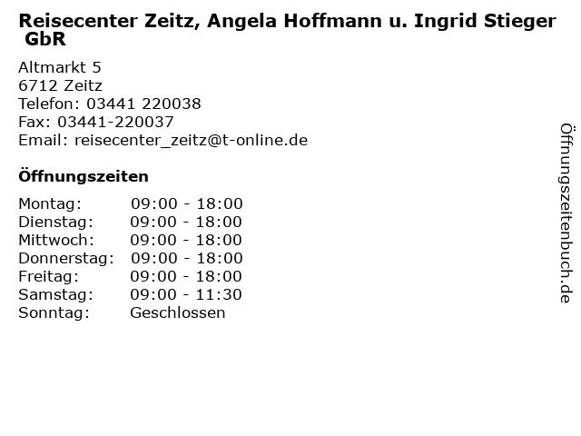 Reisecenter Zeitz, Angela Hoffmann u. Ingrid Stieger GbR in Zeitz: Adresse und Öffnungszeiten