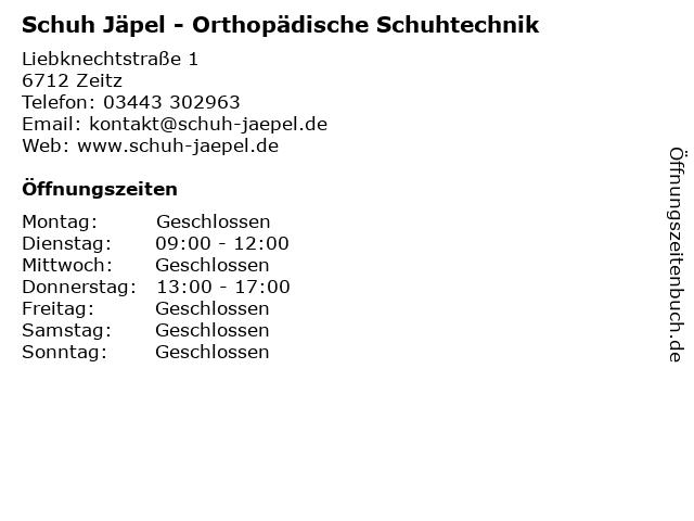 Schuh Jäpel - Orthopädische Schuhtechnik in Zeitz: Adresse und Öffnungszeiten