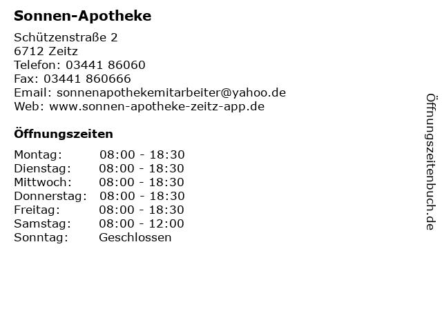 Sonnen-Apotheke in Zeitz: Adresse und Öffnungszeiten