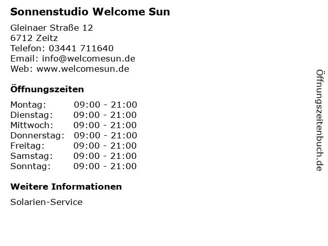 Sonnenstudio Welcome Sun in Zeitz: Adresse und Öffnungszeiten