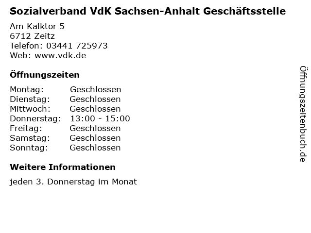 Sozialverband VdK Sachsen-Anhalt Geschäftsstelle in Zeitz: Adresse und Öffnungszeiten