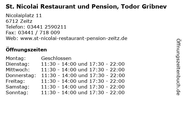 St. Nicolai Restaurant und Pension, Todor Gribnev in Zeitz: Adresse und Öffnungszeiten