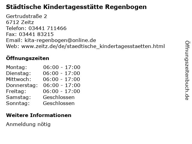Städtische Kindertagesstätte Regenbogen in Zeitz: Adresse und Öffnungszeiten