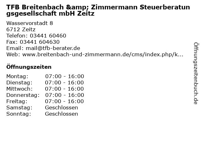 TFB Breitenbach & Zimmermann Steuerberatungsgesellschaft mbH Zeitz in Zeitz: Adresse und Öffnungszeiten