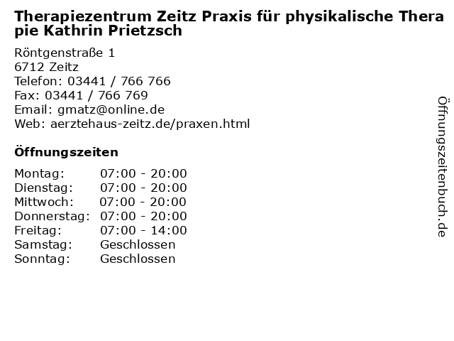 Therapiezentrum Zeitz Praxis für physikalische Therapie Kathrin Prietzsch in Zeitz: Adresse und Öffnungszeiten