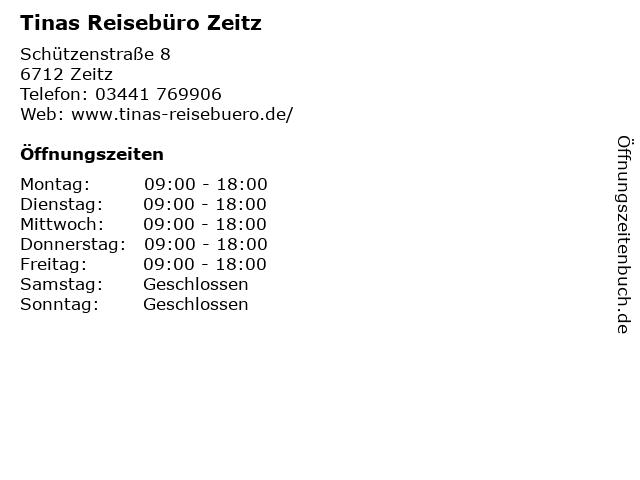 Tinas Reisebüro Zeitz in Zeitz: Adresse und Öffnungszeiten
