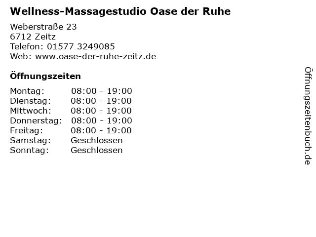Wellness-Massagestudio Oase der Ruhe in Zeitz: Adresse und Öffnungszeiten