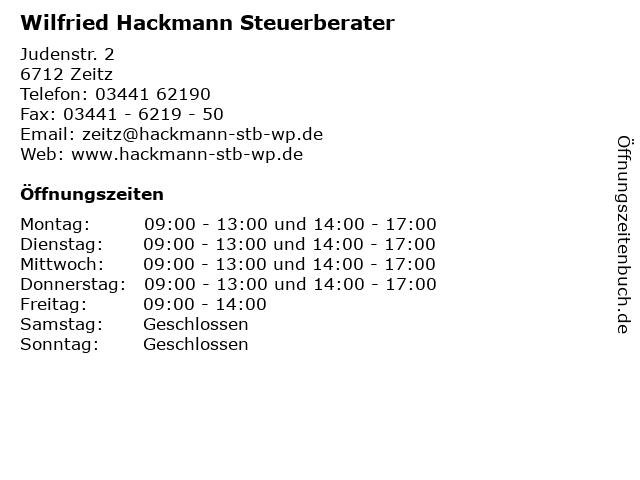 Wilfried Hackmann Steuerberater in Zeitz: Adresse und Öffnungszeiten