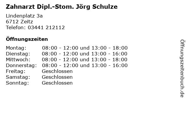 Zahnarzt Dipl.-Stom. Jörg Schulze in Zeitz: Adresse und Öffnungszeiten