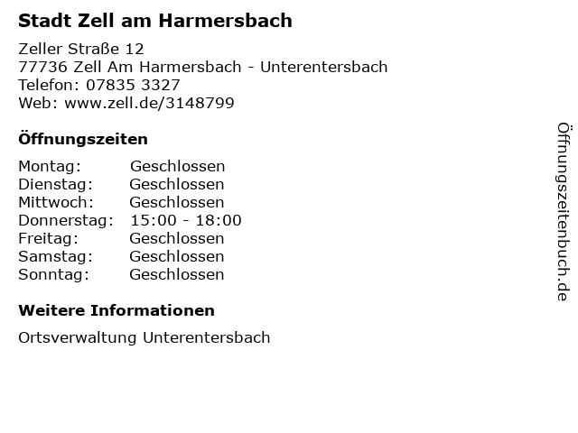 ᐅ öffnungszeiten Stadt Zell Am Harmersbach Zeller Straße 12 In