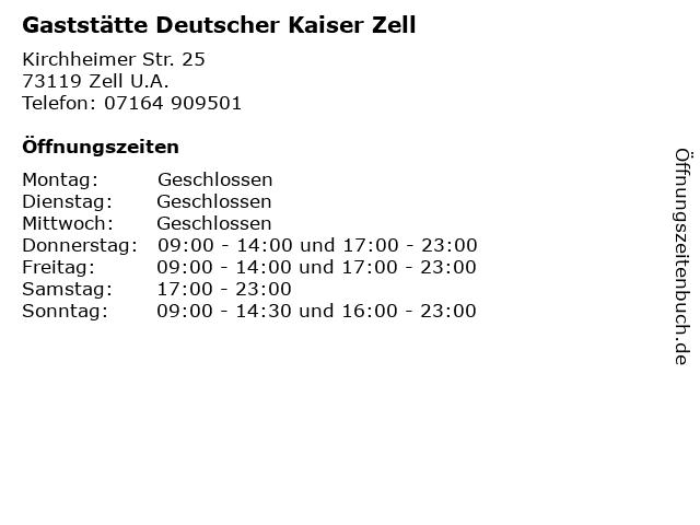 Gaststätte Deutscher Kaiser Zell in Zell U.A.: Adresse und Öffnungszeiten