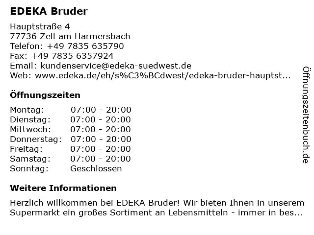 EDEKA Bruder in Zell am Harmersbach: Adresse und Öffnungszeiten