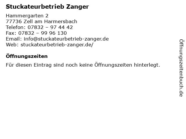 Stuckateurbetrieb Zanger in Zell am Harmersbach: Adresse und Öffnungszeiten