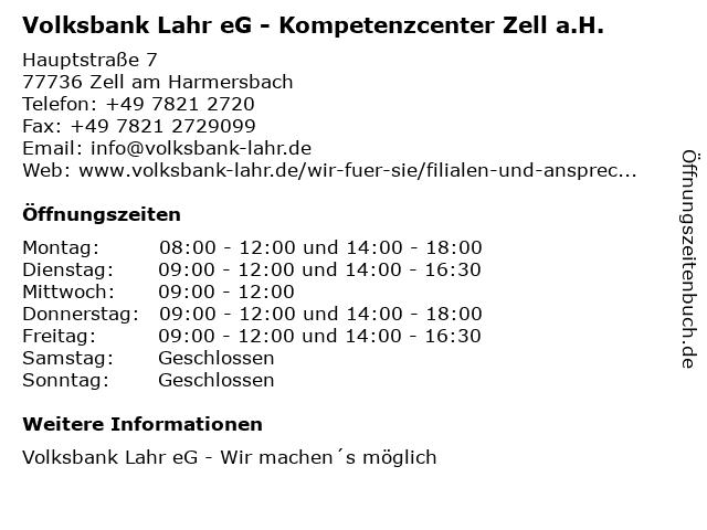 ᐅ öffnungszeiten Volksbank Lahr Eg Filiale Zell Ah