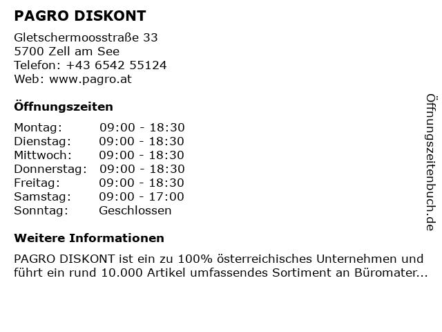 PAGRO DISKONT in Zell am See: Adresse und Öffnungszeiten