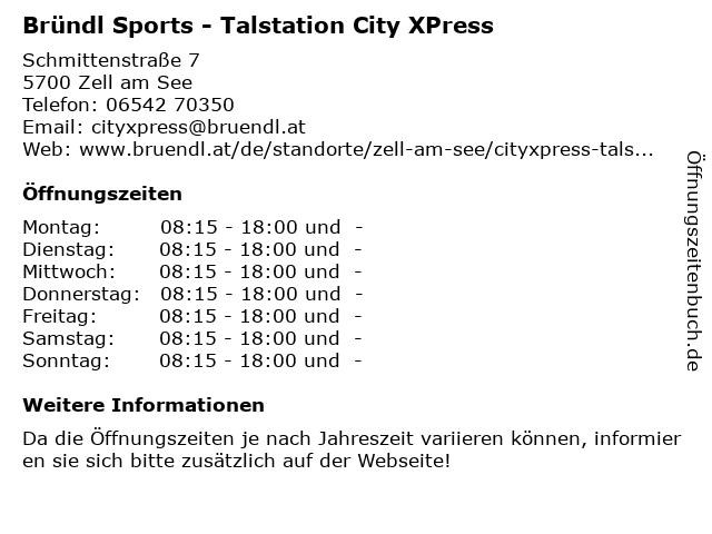 Intersport - Talstation City XPress in Zell/See: Adresse und Öffnungszeiten