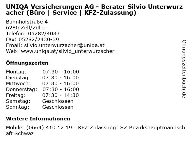UNIQA Versicherungen AG - Berater Silvio Unterwurzacher (Büro | Service | KFZ-Zulassung) in Zell/Ziller: Adresse und Öffnungszeiten