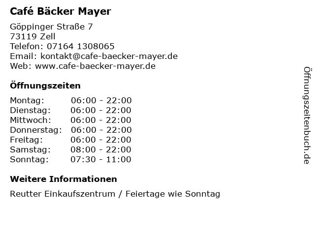 Bäckerei - Konditorei Günter Mayer e. K. in Zell: Adresse und Öffnungszeiten