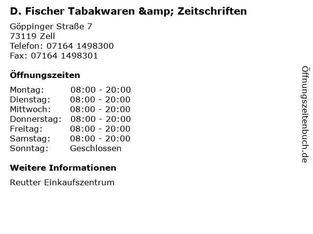 D. Fischer Tabakwaren & Zeitschriften in Zell: Adresse und Öffnungszeiten