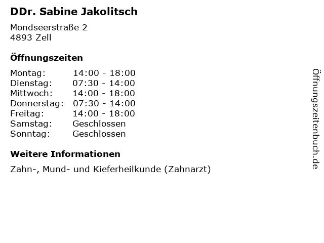 DDr. Sabine Jakolitsch in Zell: Adresse und Öffnungszeiten