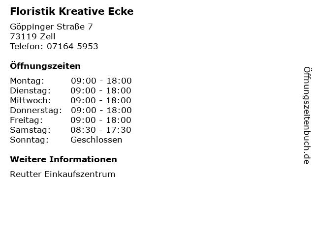 Floristik Kreative Ecke in Zell: Adresse und Öffnungszeiten
