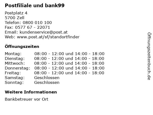 Postfiliale und bank99 in Zell: Adresse und Öffnungszeiten