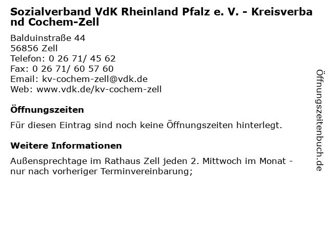 Sozialverband VdK Rheinland Pfalz e. V. - Kreisverband Cochem-Zell in Zell: Adresse und Öffnungszeiten