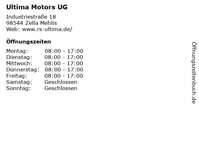 Ultima Motors UG in Zella Mehlis: Adresse und Öffnungszeiten
