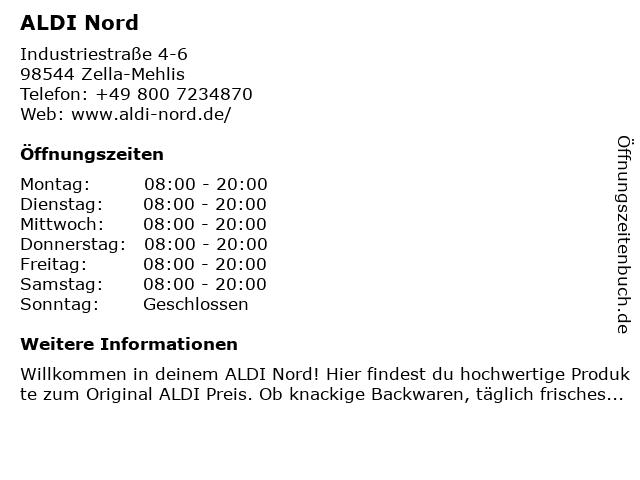 ALDI Nord in Zella-Mehlis: Adresse und Öffnungszeiten