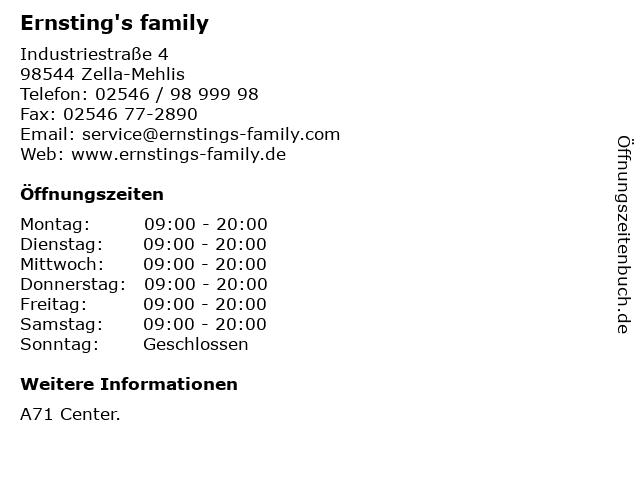 Ernsting's family in Zella-Mehlis: Adresse und Öffnungszeiten