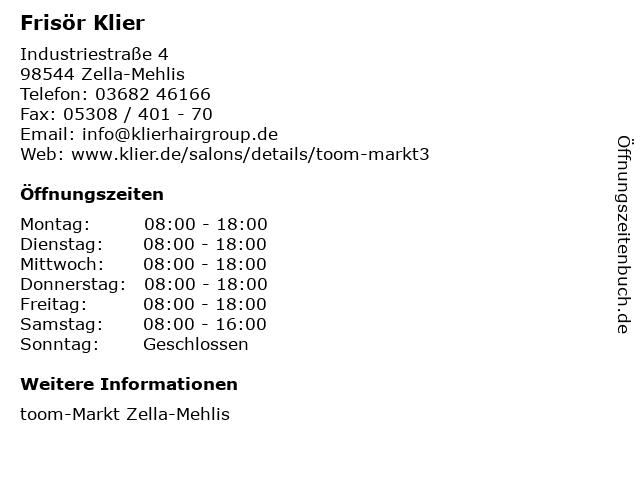 Frisör Klier GmbH in Zella-Mehlis: Adresse und Öffnungszeiten