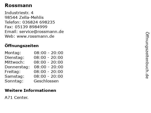 Dirk Rossmann GmbH in Zella-Mehlis: Adresse und Öffnungszeiten