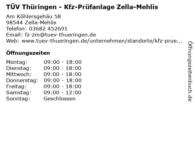 TÜV Thüringen - Kfz-Prüfanlage Zella-Mehlis in Zella-Mehlis: Adresse und Öffnungszeiten