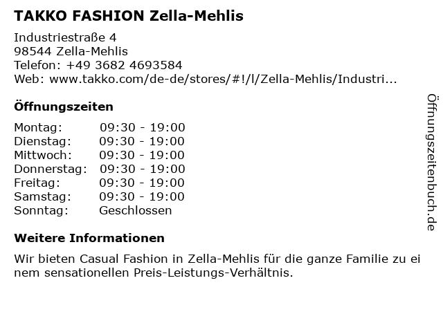 Takko Fashion in Zella-Mehlis: Adresse und Öffnungszeiten