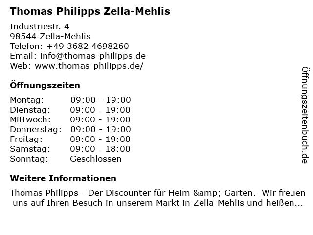 Thomas Philipps GmbH & Co. KG in Zella-Mehlis: Adresse und Öffnungszeiten
