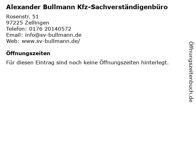 Alexander Bullmann Kfz-Sachverständigenbüro in Zellingen: Adresse und Öffnungszeiten