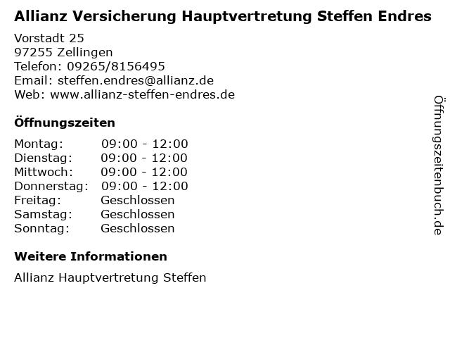 Allianz Versicherung Hauptvertretung Steffen Endres in Zellingen: Adresse und Öffnungszeiten